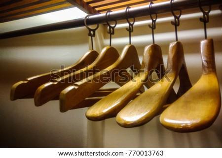 Wood Hanger in wardrobe
