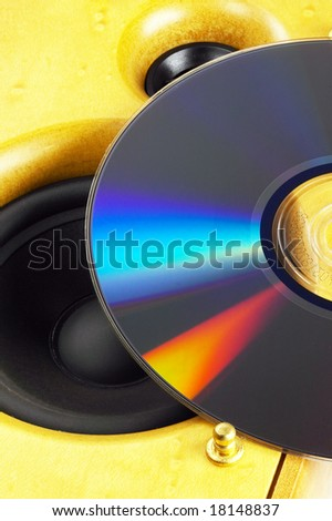 wood hi-fi Loudspeaker and cd on the top - stock photo