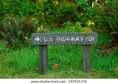 wood highway 101 sign in forest ...