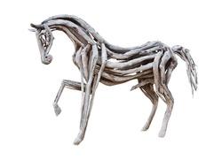 wood horse on white background.