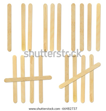 wood ice-cream stick isolated on white background