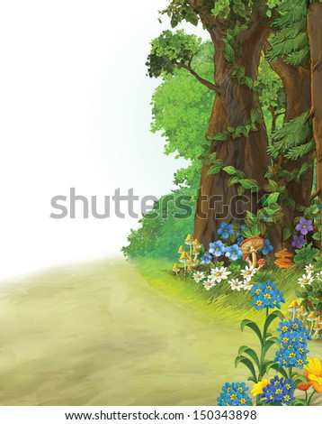 Wood illustration with a path and space for text good for fairy tale - illustration for the children