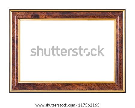 wood imitation picture frame isolated on white background