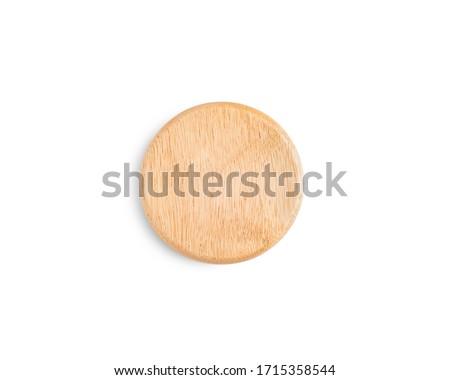 wood Jar lid on white background Photo stock ©