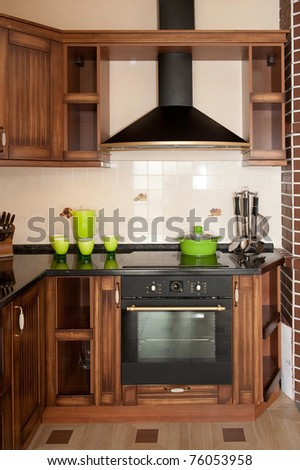 wood kitchen - stock photo