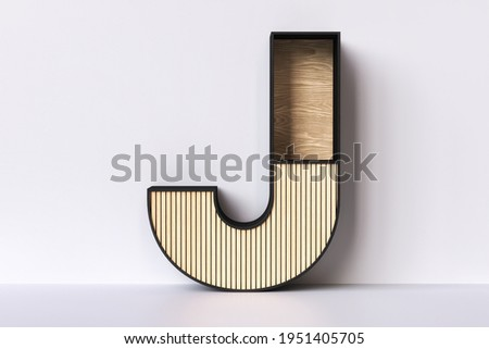Wood letter J furniture shaped with empty spaces ideal for displaying products. Inspired in Japandi style aesthetics. 3D rendering. Stock fotó ©
