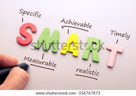 Wood letter of Smart word with hand writing definition for smart goal setting concept