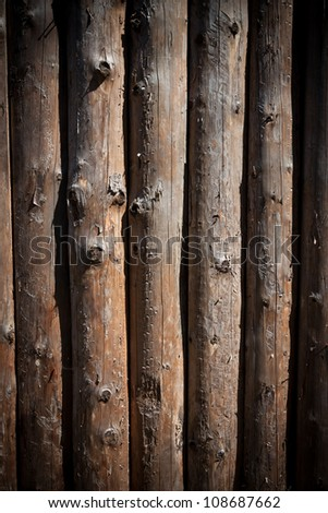 Wood log wall of old house