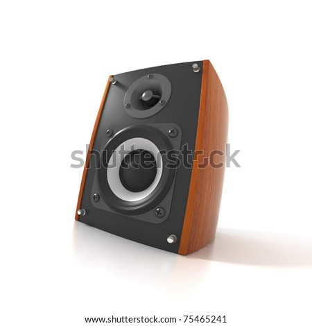 Wood Loud Speaker Isolated on White. Fish eye view