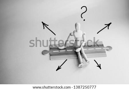 Wood mannequin decision.Decision making concept.  #1387250777