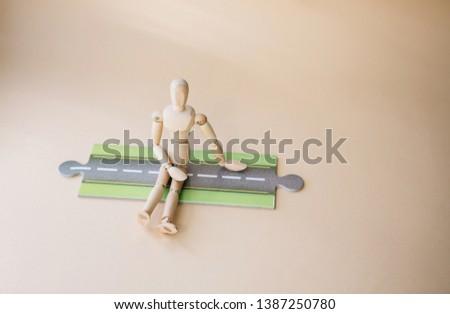 Wood mannequin decision.Decision making concept.  #1387250780