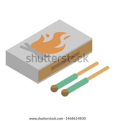 Wood matches box icon. Isometric of wood matches box icon for web design isolated on white background