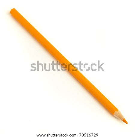 wood orange crayon isolated on a white background