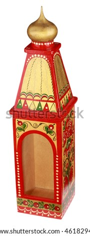 wood painted bottle case in russian style isolated