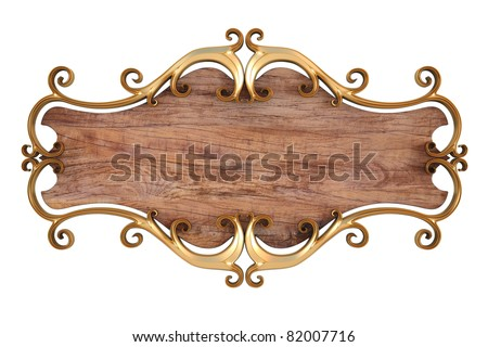 wood panel with gold forged frame. isolated on white.