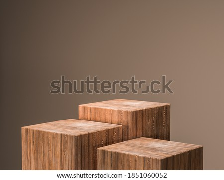 Wood pedestal for display,Luxury Wood porduct stand ,Empty wood podium,concept scene stage showcase,3D rendering.