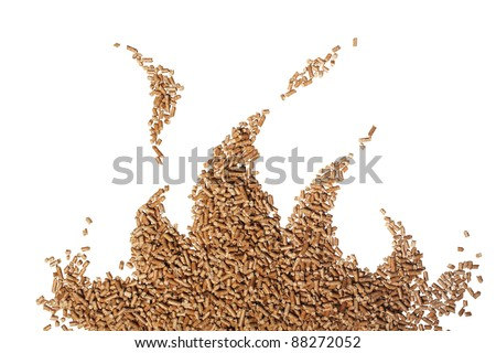 wood pellet flame on white background