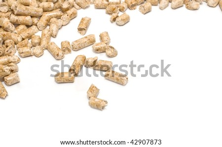 Wood pellet fuel on a white background