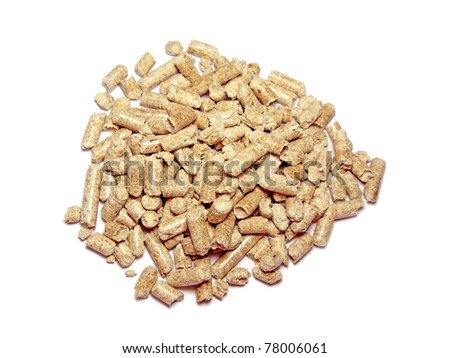 Wood pellets background close up. Isolated in white - stock photo