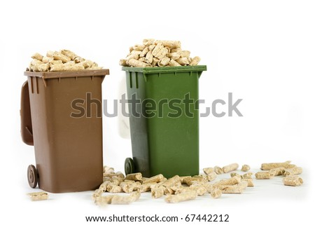 wood pellets in recycle bin