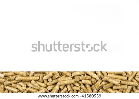 Wood pellets line on white background