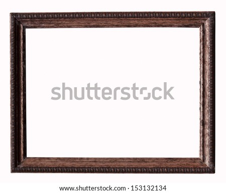 Wood picture frame over a white background
