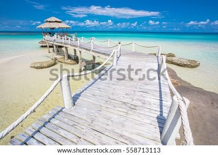Wood pier and hut, Koh Kood island - Thailand.