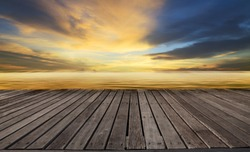 wood pier,terrace and beautiful sky with copy space use as background to display goods and  product
