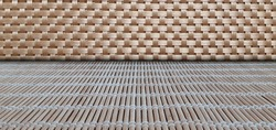 wood plain weaved wall and wood boards got together ground (2)