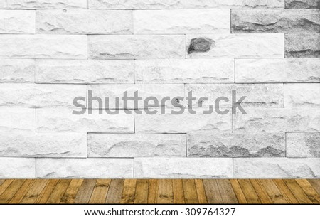 wood plank walk way with Brick wall white color background for art interiors design in home, house, building, shop, store, art store, coffee shop