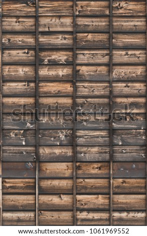 wood planks overlapping tiled #1061969552