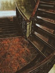 Wood retro staircase
