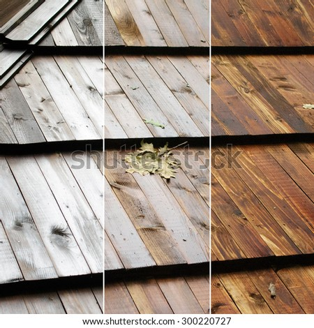 Wood roof with oak leaf before and after applying polarization effect on a circular polarizer (CPL) filter. How to use CPL filter and filter advertising concepts images
