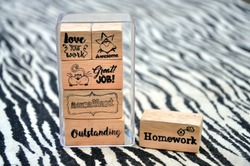 Wood Rubber Stamp Set for Teachers and Classroom Life. Paper Grading Stamps, Encouragement, School Supply.