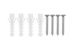 wood screws made of steel with plastic dowels is on white background with clipping path, mobile quality
