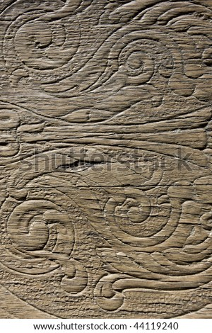 wood scroll ornament background texture - stock photo