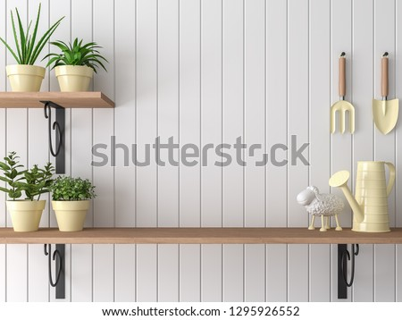 Wood shelf 3d render,There are empty white plank wall,Decorate with yellow garden equipment.