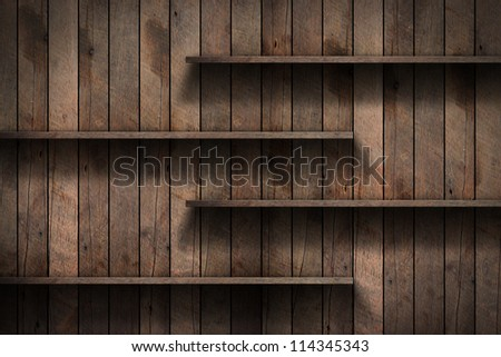 Wood shelf, grunge industrial interior Uneven diffuse lighting version. Design component
