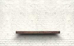 Wood shelf on brick wall texture background.
