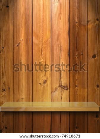 Wood Shelf on Wood Panel and light