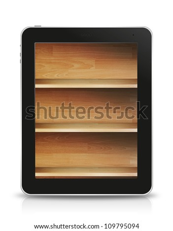 wood shelf screen in tablet pc, isolated on background white
