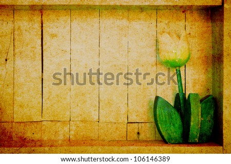 Wood shelf with decorative flower in retro style