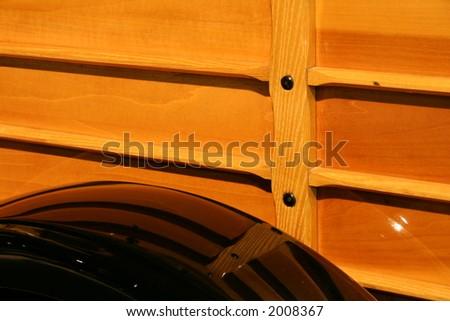 wood siding on vintage truck - stock photo