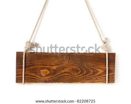 wood sign board with rope