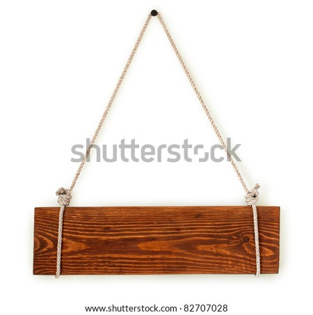 wood sign board with rope isolated on white