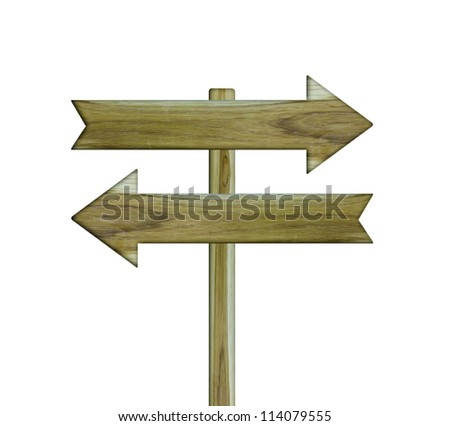 wood sign isolated on a white background - stock photo