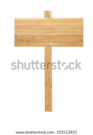 Wood sign isolated on white background