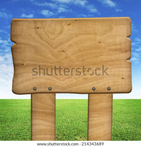 wood sign with field background