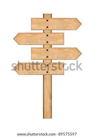 wood signs isolated on white.