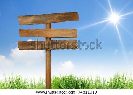 Wood signs  on sun sky